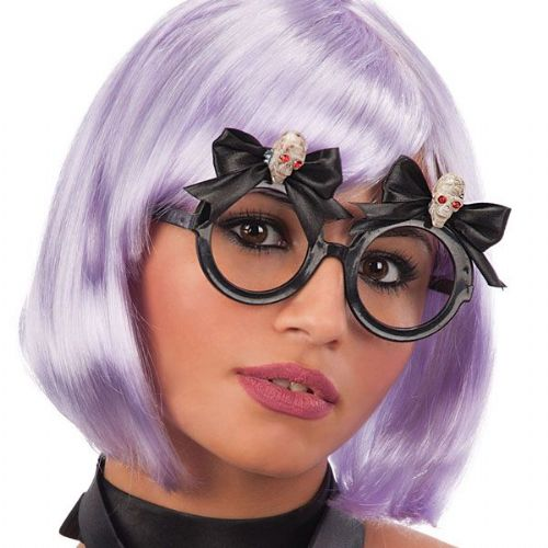 Party Glasses Round with Bow & Skulls Halloween Creepy Trick Treat